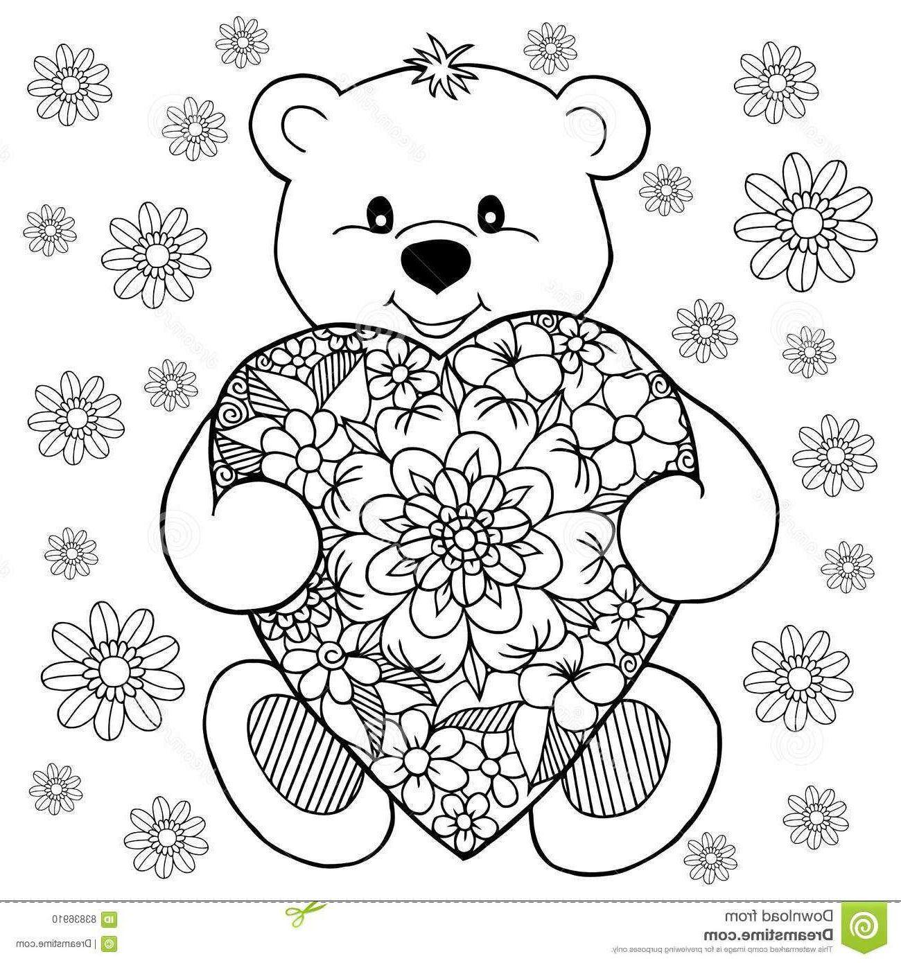 5881 coloriage nounours avec coeur 6333 nounours et fleur ...