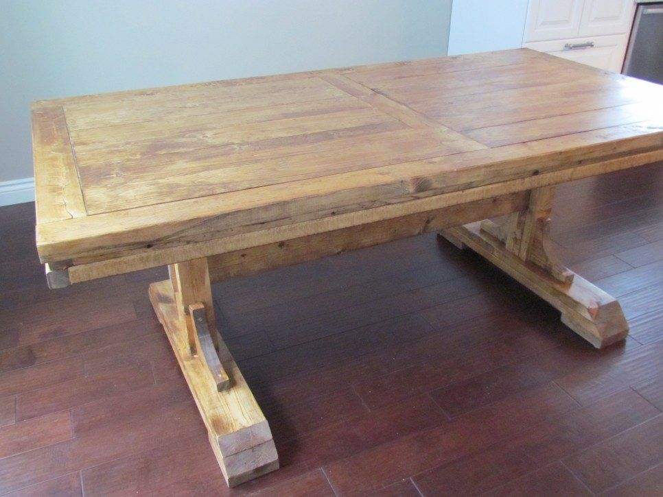 Furniture Diy Custom Distressed Farmhouse Dining Table With Double Pedestal For Rustic Di Rustic Wood Kitchen Tables Farmhouse Dining Table Kitchen Table Wood