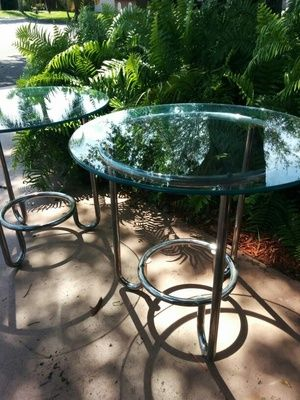 Pair of Glass & Chrome End Tables in Coconut Creek, FL (sells for $100)