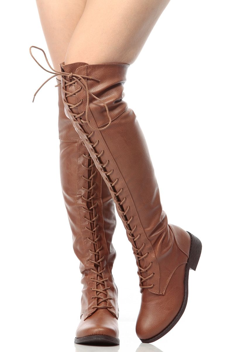 933fc62f4bfce Chestnut Faux Leather Thigh High Lace Up Combat Boots @ Cicihot ...