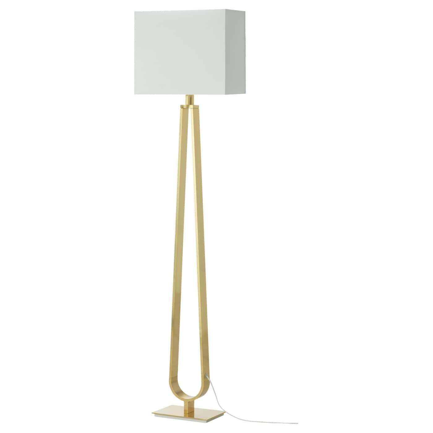 Klabb Floor Lamp With Led Bulb Off White Brass Color Ikea Ikea Floor Lamp Floor Lamp Brass Floor Lamp