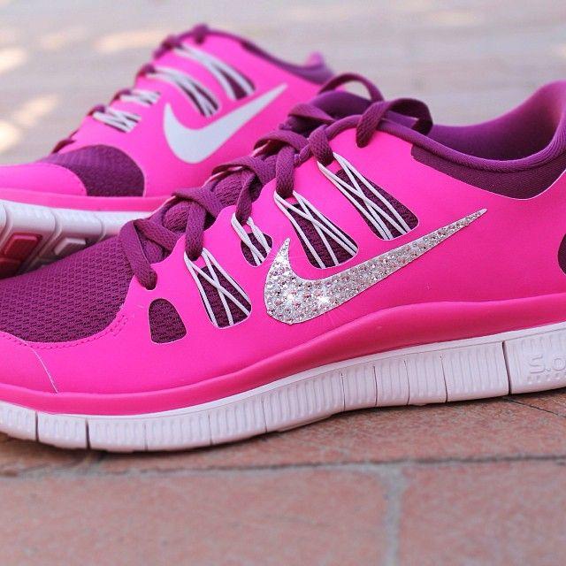 wholesale dealer 375a5 ba6c3 Women s Nike Free Run 5.0+ with Swarovski rhinestones ✨ www.GlitterFix.com ✨