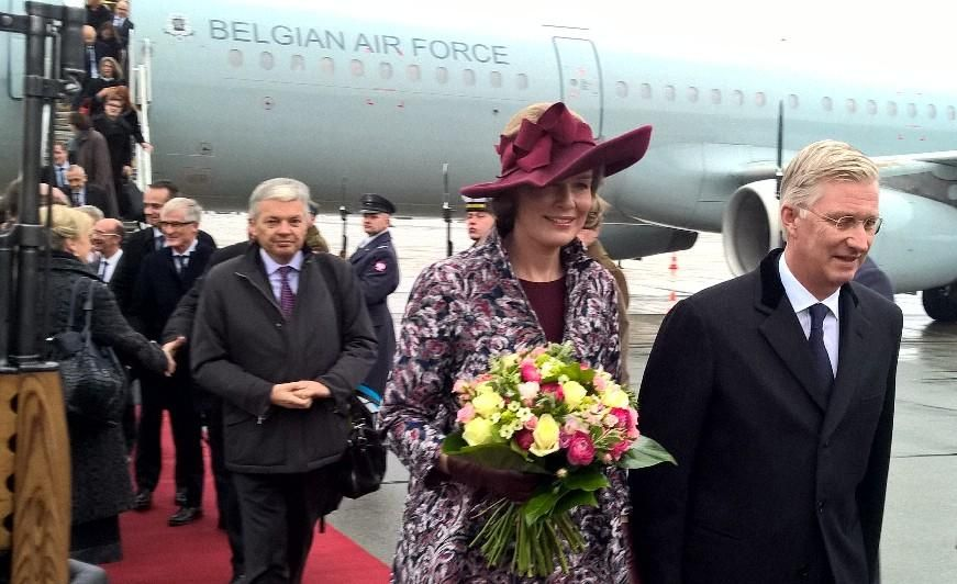 King Philippe and Queen Mathilde attended the welcoming ceremony at the Presidential Palace as part of their official  visit to Poland on October 13, 2015 in Warsaw, Poland.