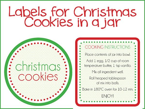 Christmas Cookies In A Jar Labels Christmas Cookies Christmas Labels Jar Gifts