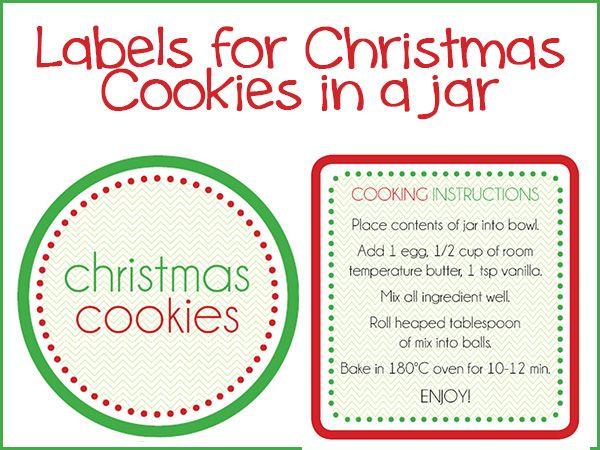 Christmas Cookies In A Jar Labels Organised Hq Christmas Cookies Christmas Labels Jar Gifts