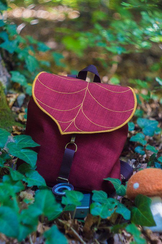 Burgundy Leaf Mini Backpack, Women's Rucksack, Boho Festival ...