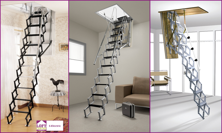 Electric Concertina Loft Ladder Collection From Loft Centre Products Attic Ladder Loft Ladder Wood Doors Interior