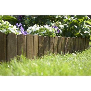 Bordure à dérouler plate, bois marron, H 20 x L 120cm | Déco ...
