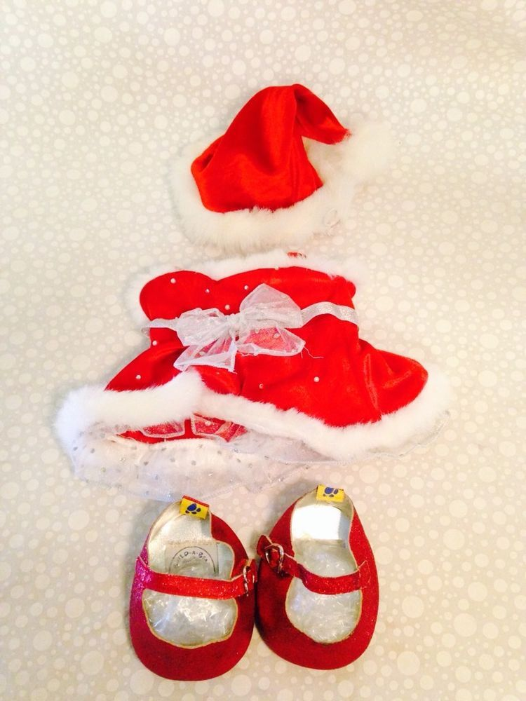 BUILD A BEAR OUTFIT Christmas Dress W Santa Hat & Sparkley Shoes #Christmas - BUILD A BEAR OUTFIT Christmas Dress W Santa Hat & Sparkley Shoes