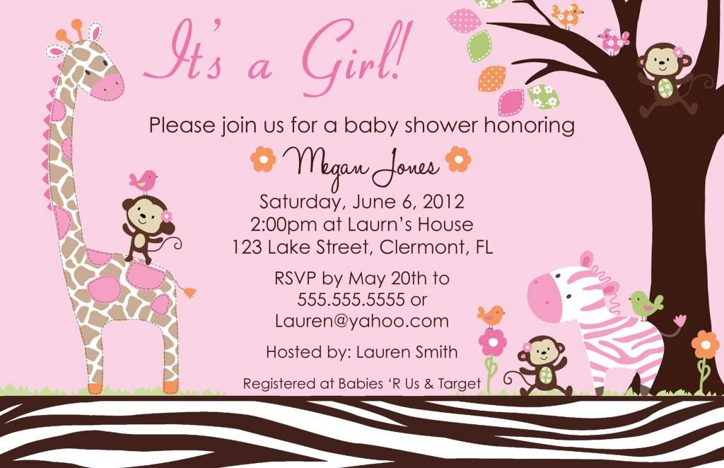 Delightful Jungle Baby Shower Invitations | Carters Jungle Jill Baby Shower Invitation  Girl Giraffe Safari