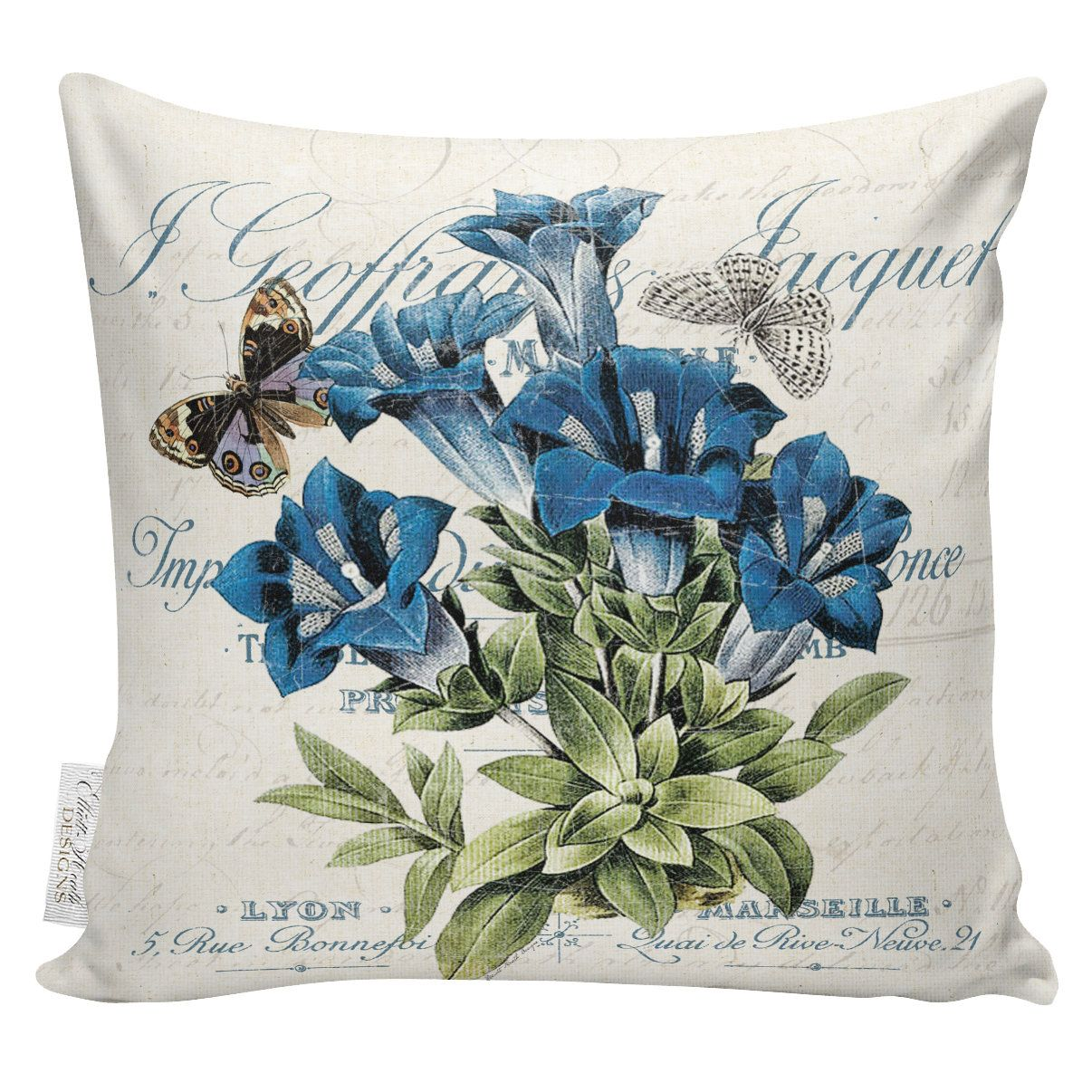 Blue floral pillows botanical pillows spring pillow