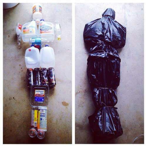 Use old bottles to make a dead body yard decoration.