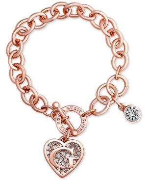 Guess Rose Gold Tone Link Charm Bracelet