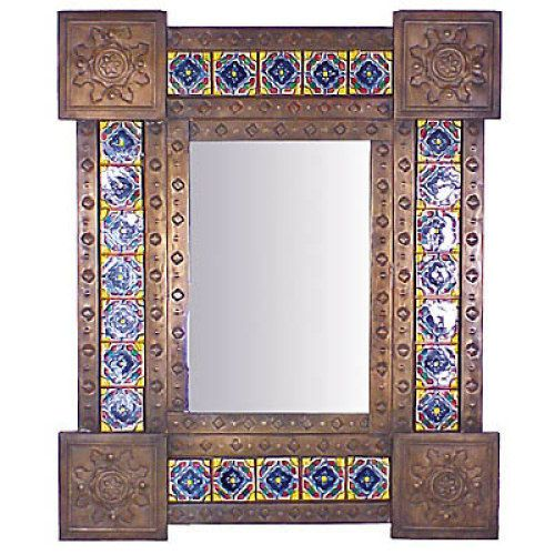 This Unique Aged Mexican Tin And Talavera Mirror Is A Work Of Art Guaranteed To Make Design Statement On Any Wall In Your Home