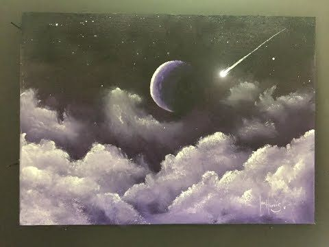 188 How To Paint Fluffy Night Clouds And Moon Acrylic Youtube