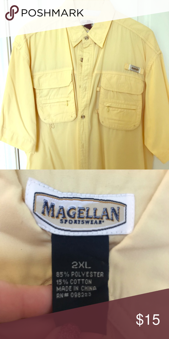 38b3a47d2e4 Pale Yellow Magellan Fishing Shirt Pale yellow, short sleeve Magellan  fishing shirt in XXL.