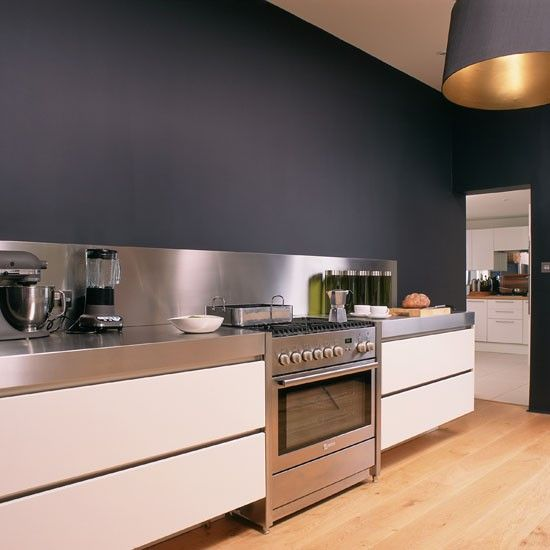 Kitchen, Grey White Kitchen Design With Dark Grey Painted
