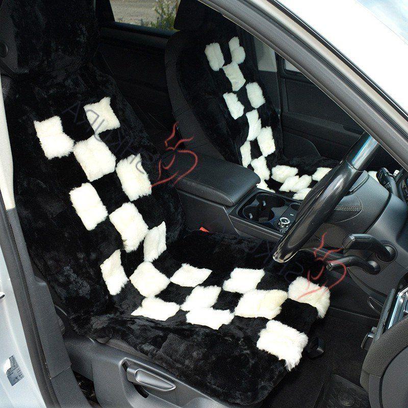Sheared Sheepskin Car Seat Cover Black 2 Pcs Car Accessory For Men