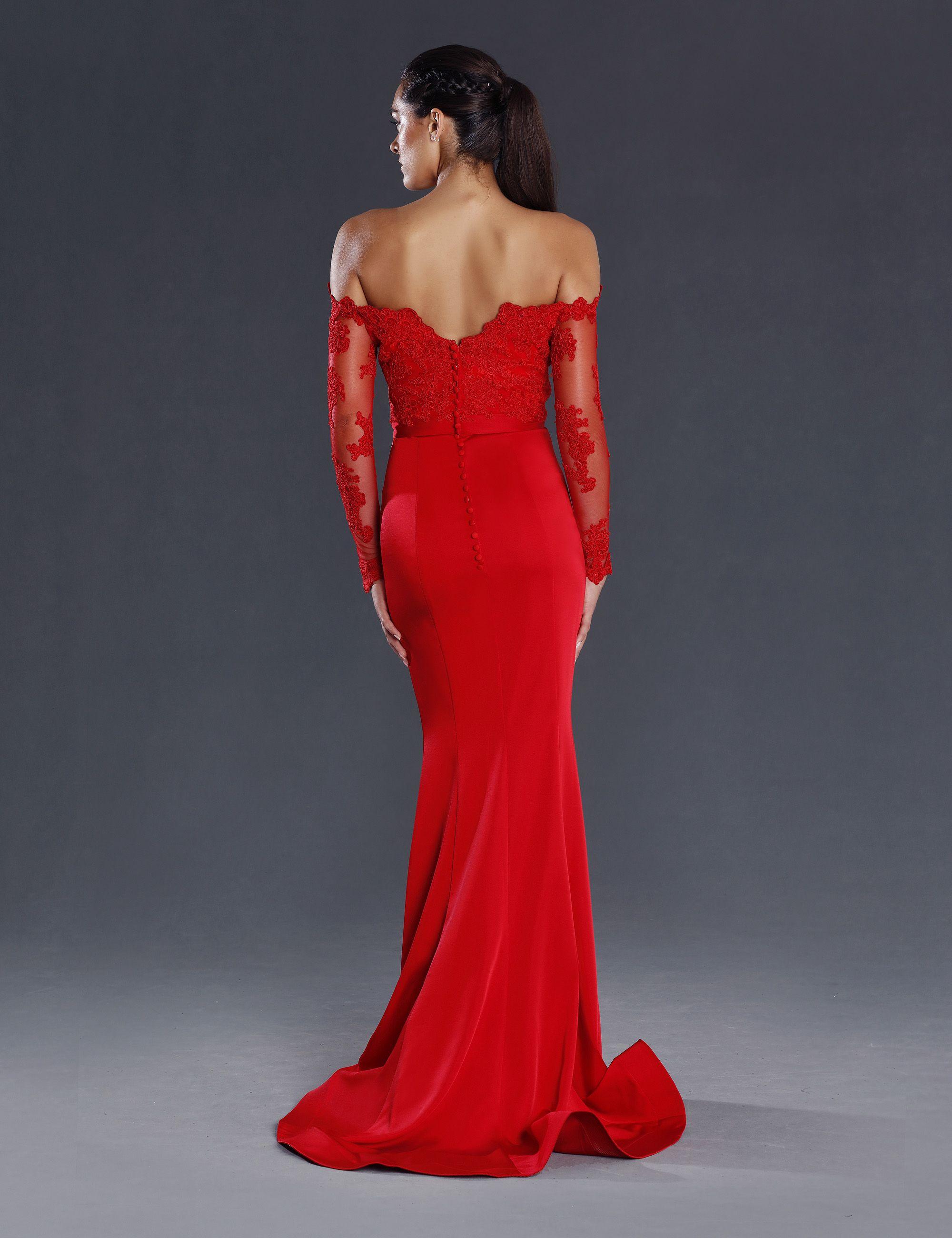 0f9956c68e5 Robe longue cérémonie rouge intense forme fourreau sirène