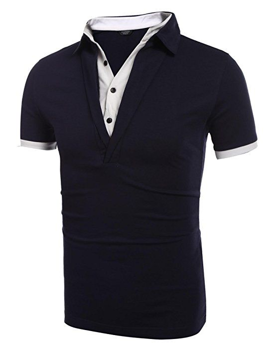 Mens Hipster T-Shirt Short Sleeve Business Color Stitching Slim Polo Shirt