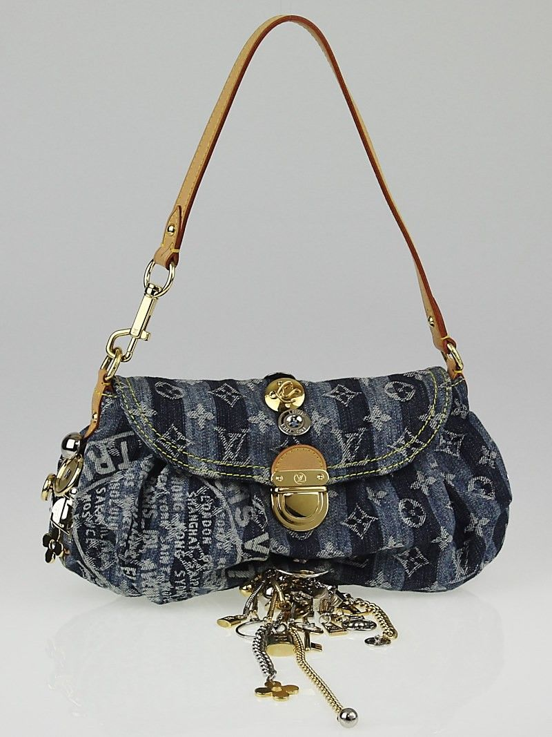 Louis Vuitton Limited Edition Blue Denim Monogram Mini Pleaty Raye Customise Bag Handbags 10051168 1495 19 000 Day