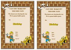 Tv Cartoons Invitations Bob The Builder Construction Birthday
