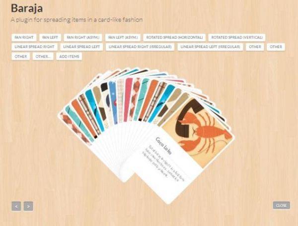 Affichage d'éléments comme des cartes à jouer - Baraja - http://twit.lu/m1