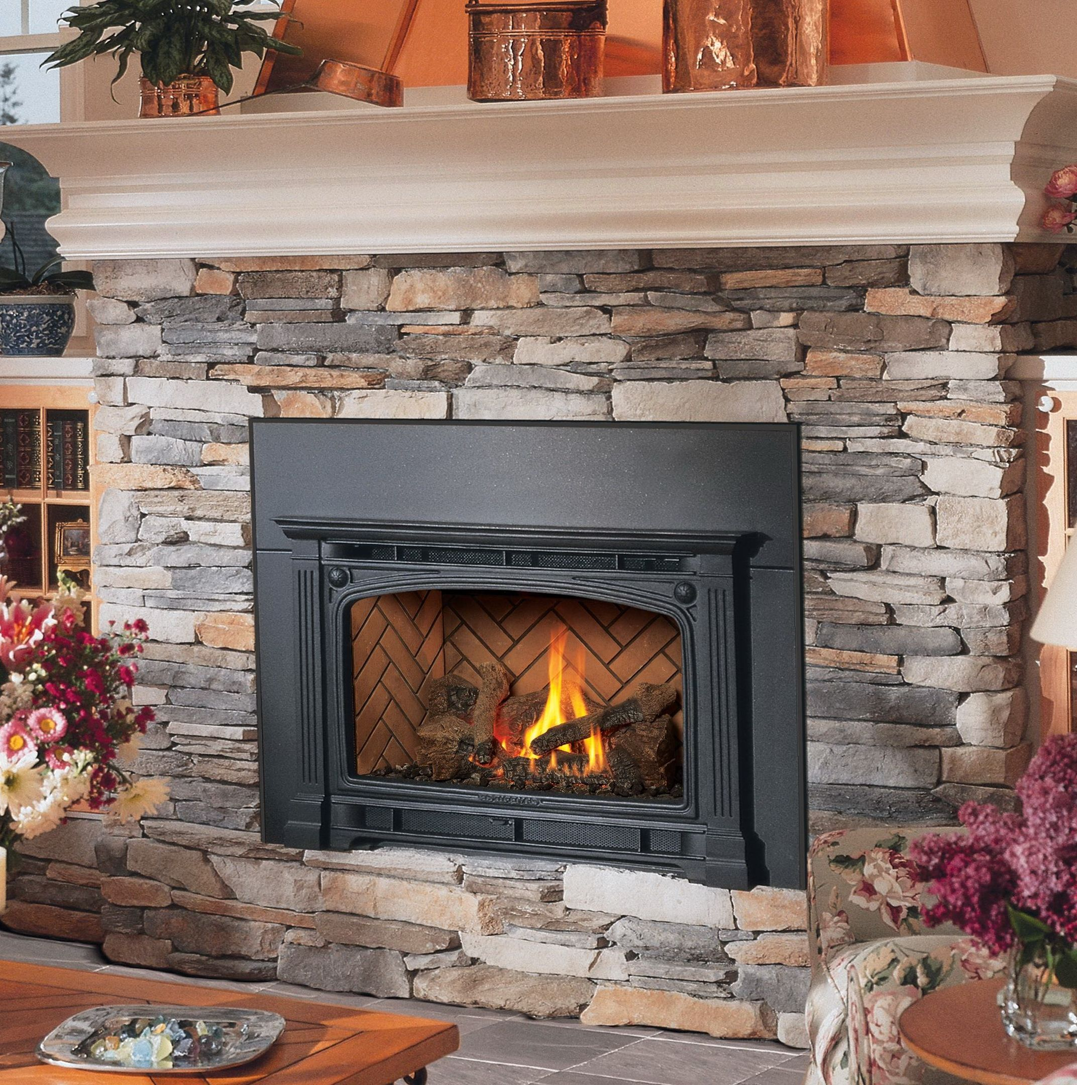 Open Gas Fireplace Inserts