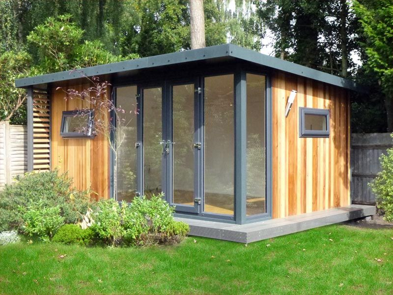 Garden Office With Cedar Cladding Composite Decking Cedar