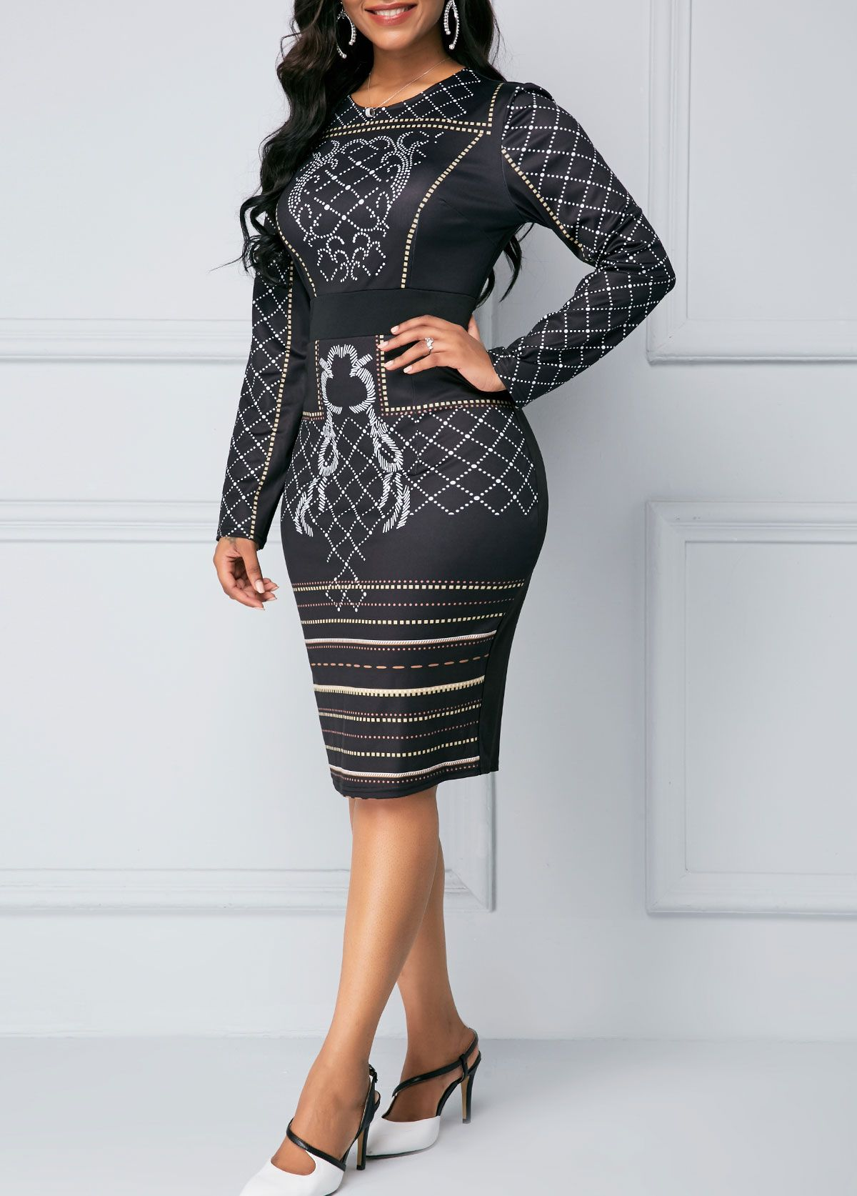 Back slit long sleeve printed black sheath dress rotita usd