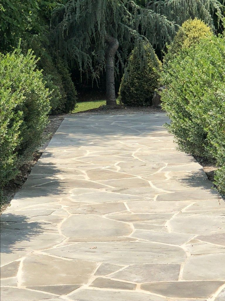 Mortar With Flagstone Flagstonepathway Can Keep Existing Flagstone But Consider Replacing Dirt With Mortar For A More Polished Patio Look Flagstone Walkway Outdoor Walkway Flagstone Pavers