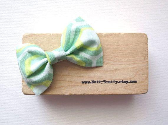 Fabric Hair Bow Clip  Mint Green Lemon Yellow Aqua by nattybratty, $8.00