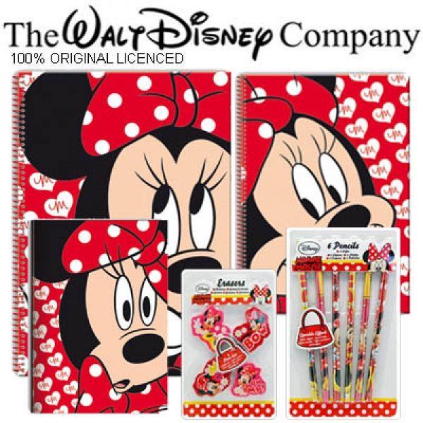 Minnie Mouse Set Escolar Coleccion Minnie Libretas + Lapices + Borradores Disney - Bekiro