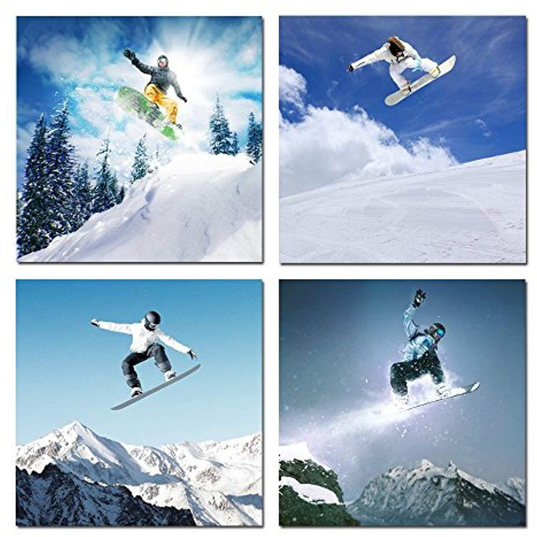 Hello artwork canvas wall art snowboard winter sports