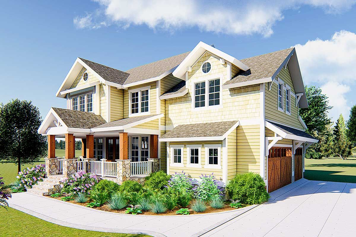 Plan 500035VV 4Bed Craftsman Home Plan with Beds