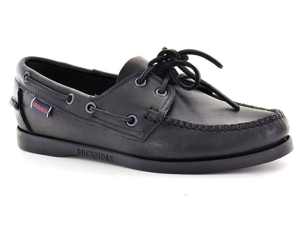 9dfe66fca6f Sebago Womens Boat Shoes B57973 Docksides Black Leather size 5.5 US  SEBAGO   BoatShoes