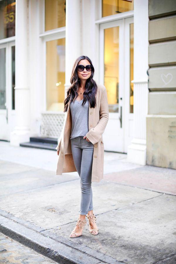 Kat Tanita of With Love From Kat wears grey Frame denim ...