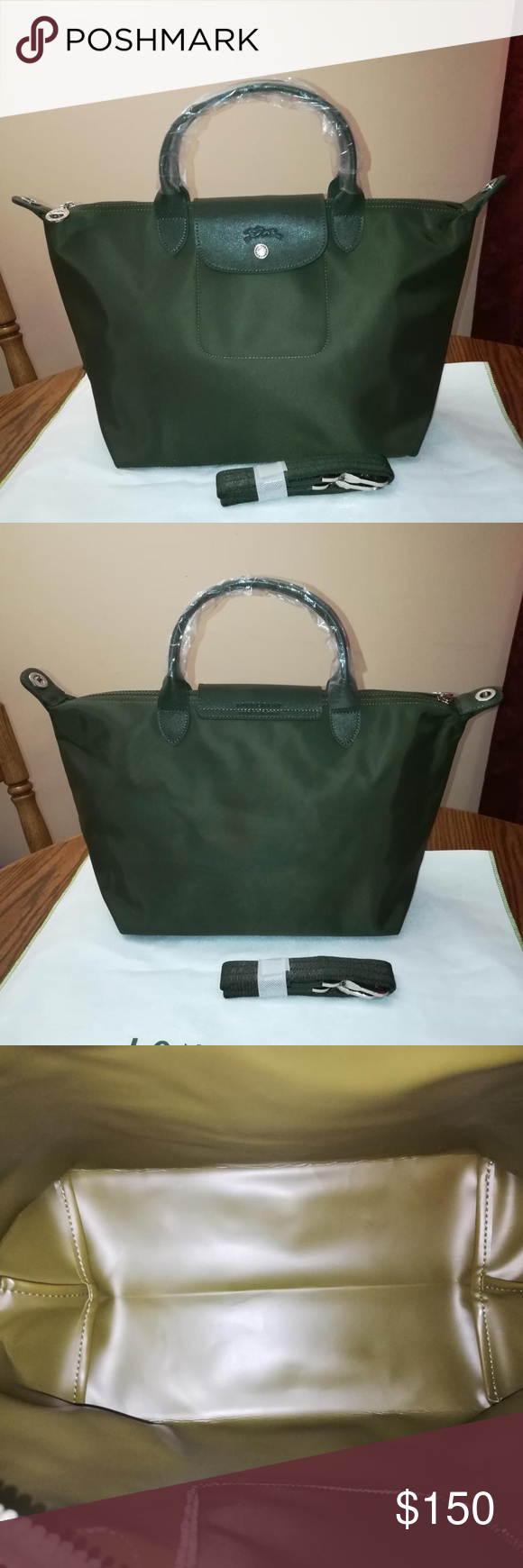 Longchamp Le Pliage Neo Medium Loden Green New In 2018 My Posh Tote Khaki Short Handle With Straps Made France Silver Tone Hardware Comes Dust
