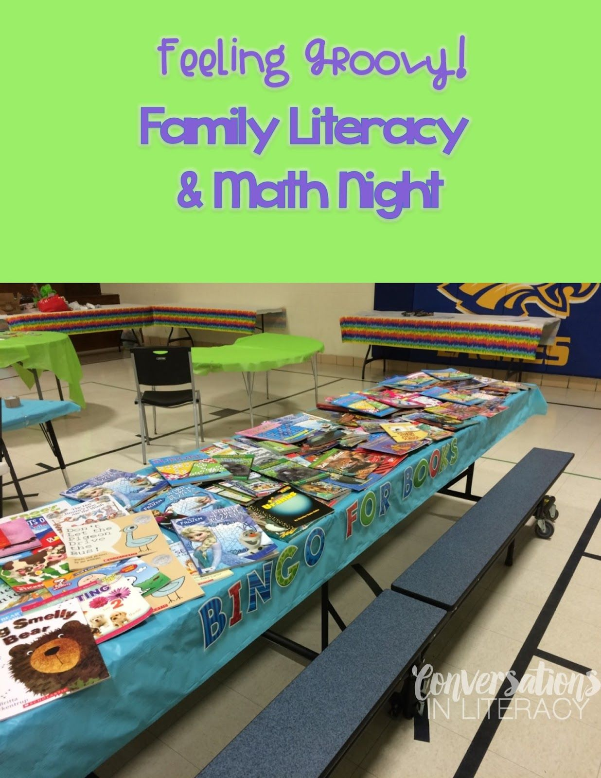 feeling groovy on family literacy night! | book fair | pinterest