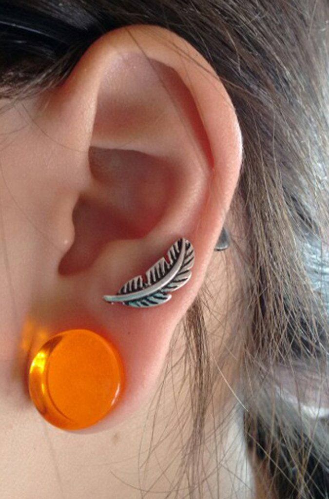 106479fd0 Beautiful Ear Piercing Ideas at MyBodiArt.com - Leaf Feather Cartilage  Pinna Auricle Earring Stud 16G