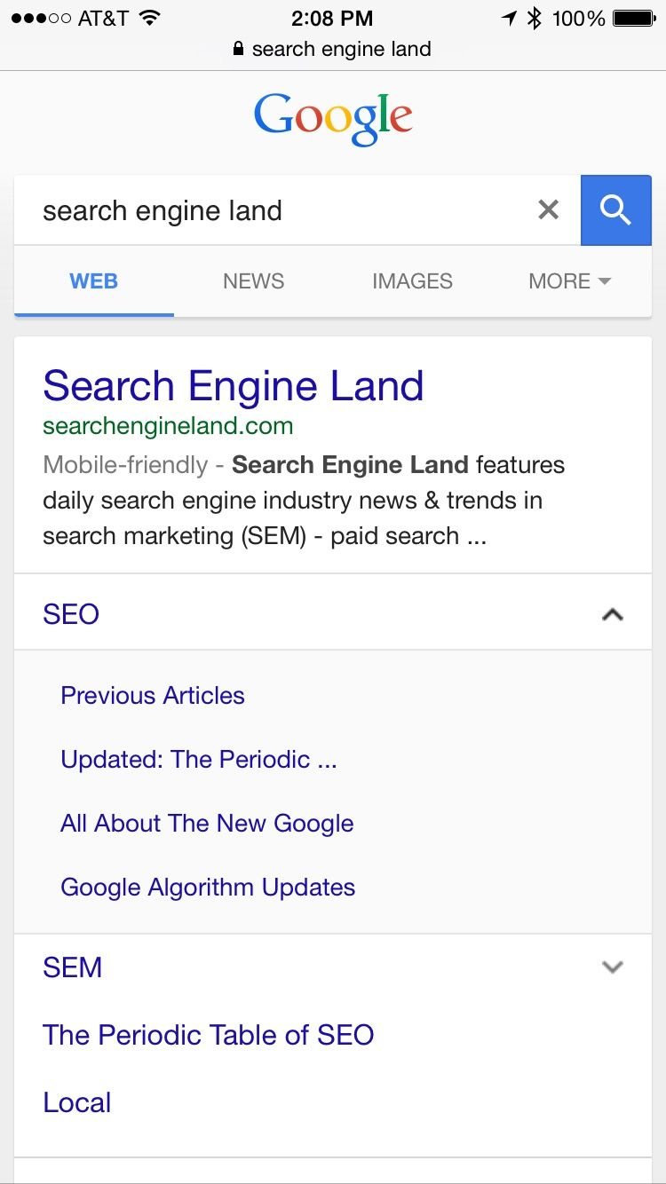 Google Mobile Results Have New Expandable Sitelinks Search