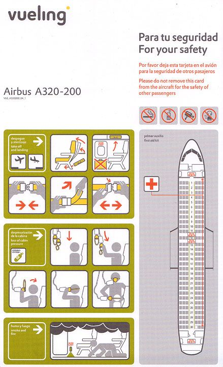 Mapa De Asientos Vueling.Vueling Airbus A320 200 Safety Instructions Safety Cards