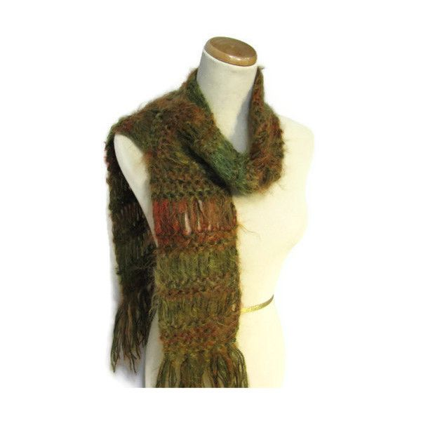 Sale Hand Knit Scarf Green Rust Copper, Gift For Her, Fashion Scarf,... ($30) ❤ liked on Polyvore featuring accessories and scarves