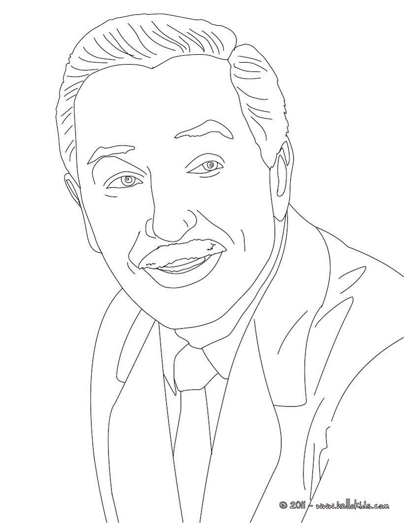 WALT DISNEY portrait coloring page