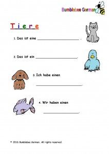 Tiere Arbeitsblatt-page-001 | German for kids | Pinterest | German ...
