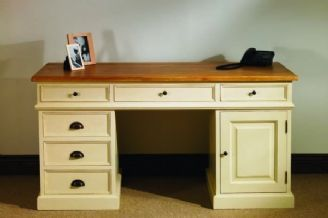 Mottisfont Country Painted Pine Large Pedestal Desk Pedestal Desk Desk With Drawers Paint Wooden Desk