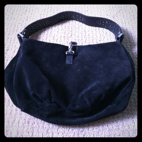 Beautiful hand bag by Tylie Malibu Black suede, straps has metal studs and crystals, has zip pocket inside! Good condition! Tylie Malibu Bags Hobos
