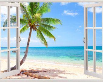 Self-Adhesive 3D Ocean Beach Sunshine Bedroom Door Murals Wall Sticker Decal