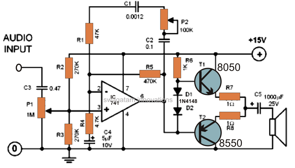 make this mini hi fi ipod amplifier circuit using ic 741 circuits rh pinterest com