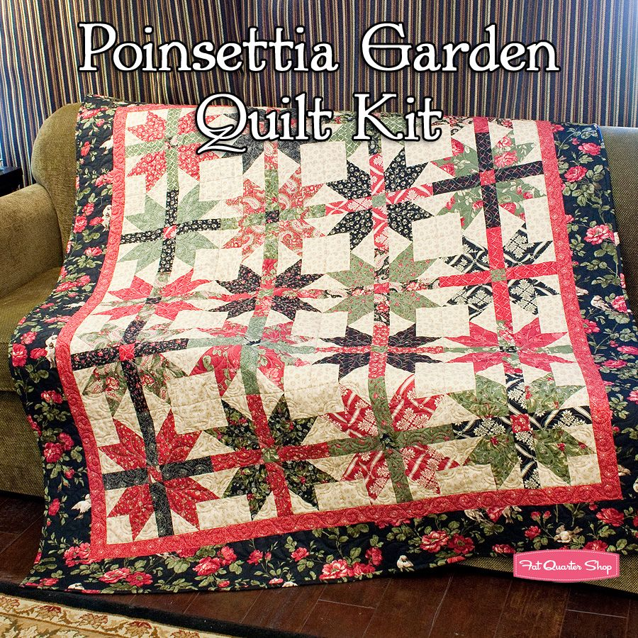 Poinsettia Garden Quilt Kit Featuring Wintergreen by 3 Sisters ... : three sisters quilt shop - Adamdwight.com